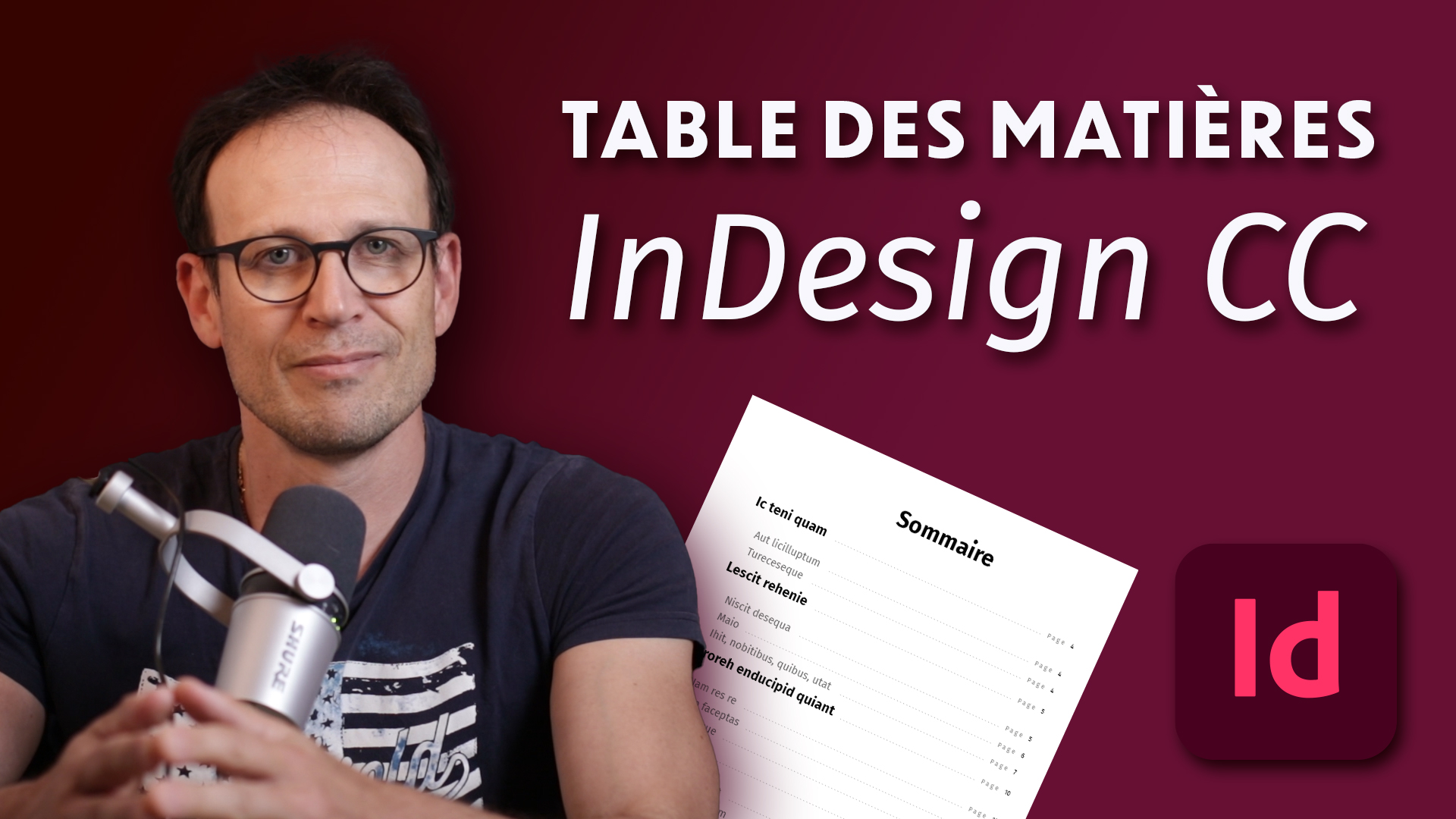 Table des matières Indesign